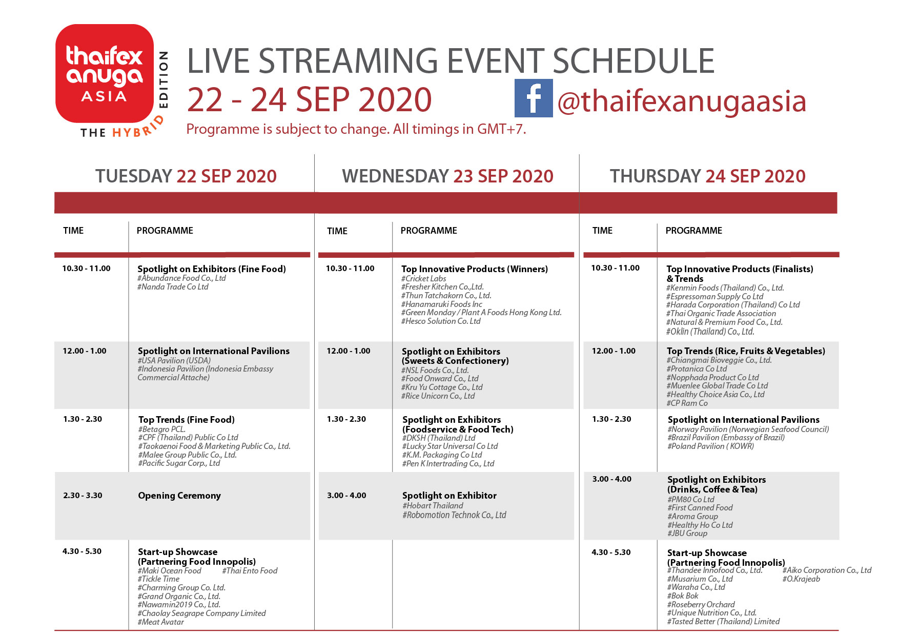 live streaming final schedule day1 - 3 final