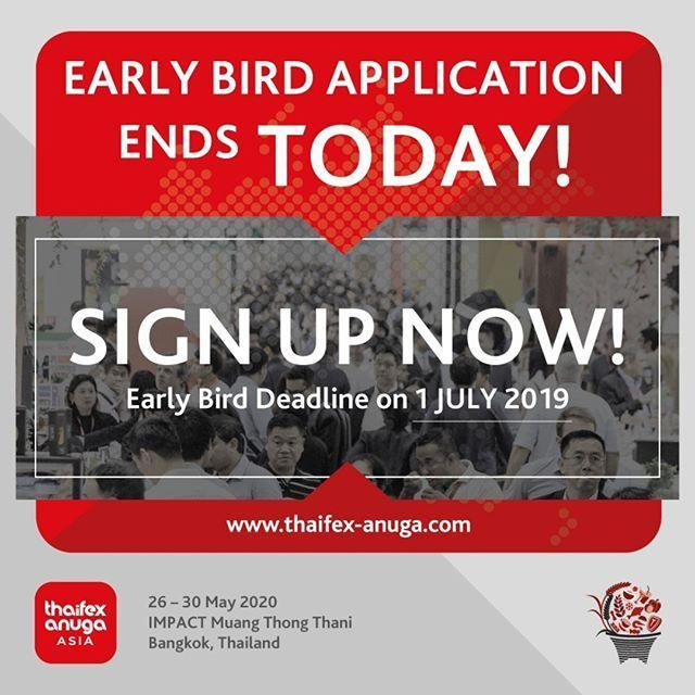 ⏰Last call! This is your final chance to book your space at Early Bird prices!  Book your space now: http://bit.ly/THAIFEXAnugaAsiaApplyNow